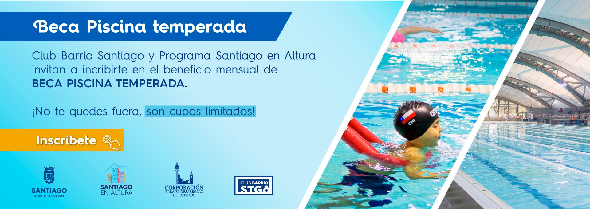 Becas de piscina temperada